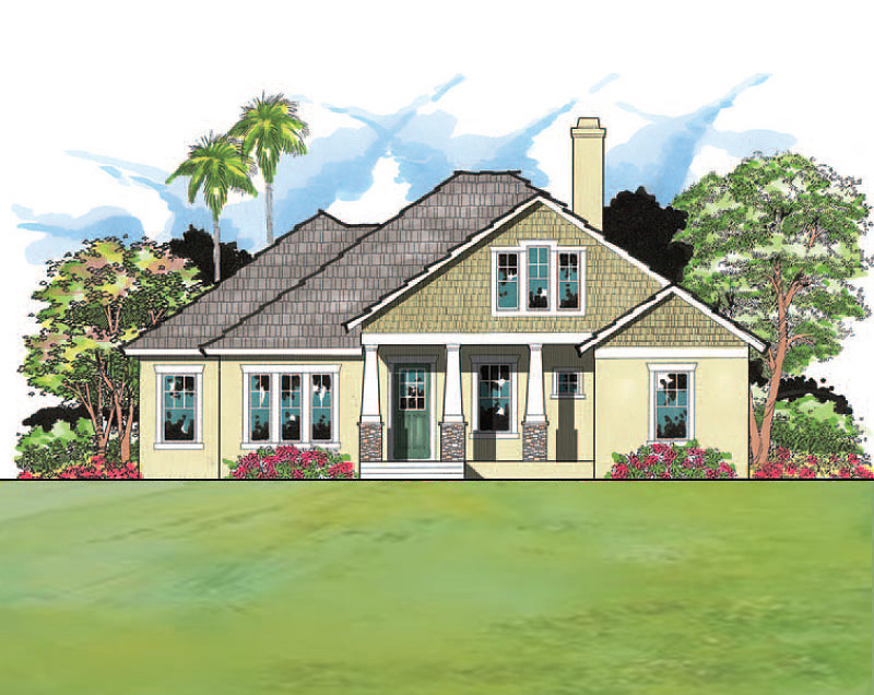 Craftsman windows shakes stone and tapered columns make for Southern custom homes