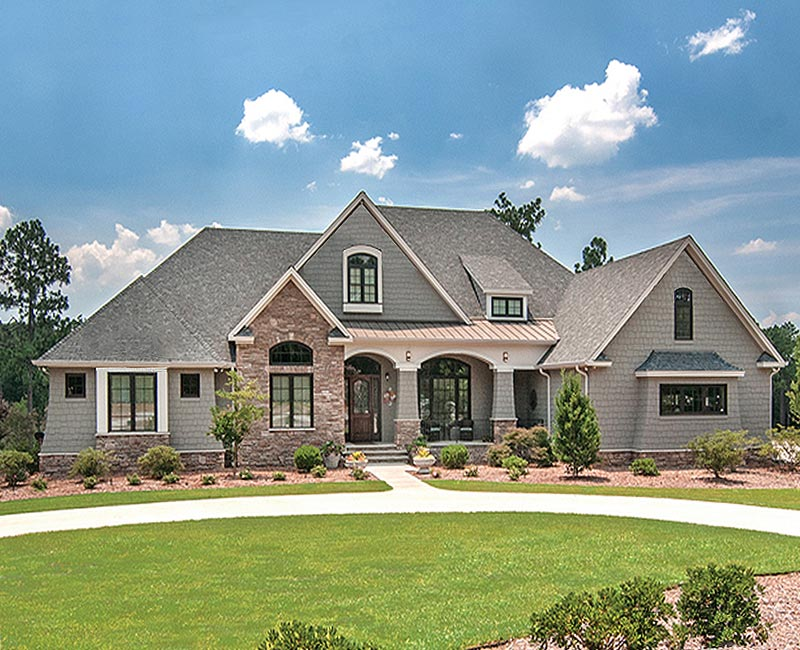 Beautiful french country estate custom home with 3 881 for Custom home blueprints