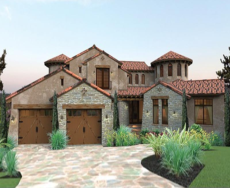 Twin turrets define this quintessential tuscan designed for Southern custom homes