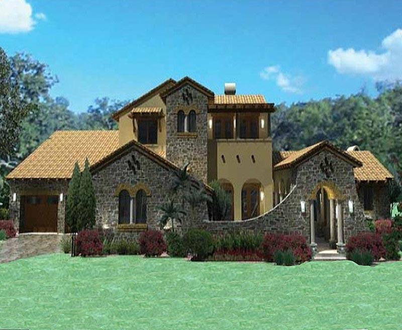 Tuscany villa custom home has 3 804 square feet for Southern custom homes