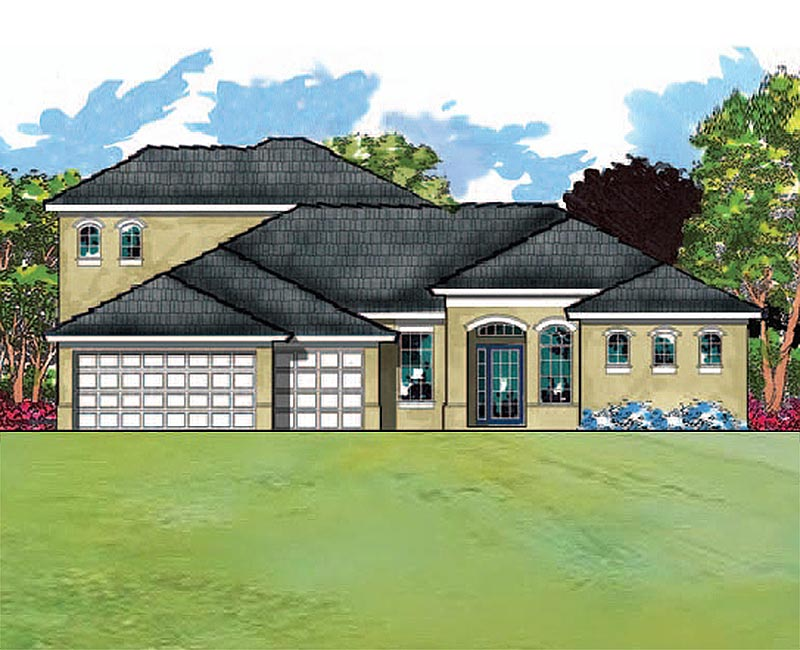 Modern mediterranean with four bedrooms and a large bonus room for Southern custom homes
