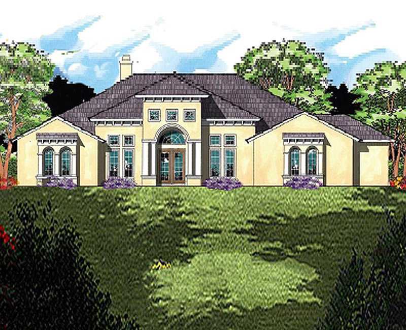 Mediterranean styling adorn the exterior of this large for Southern custom homes