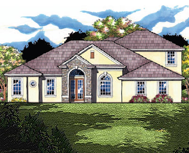 Modern mediterranean custom home with five bedrooms and for Large custom home plans